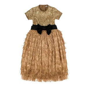 Hailey Gold Long Tulle Dress