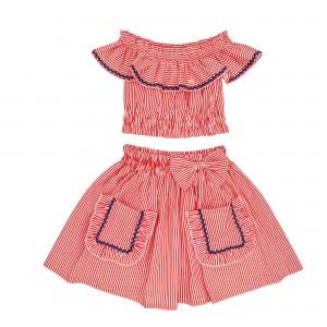 Jessica Red Striped Set