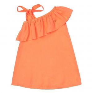 Vallerie Neon Orange Linen Dress