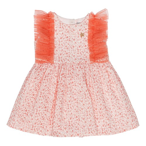 Floral Salmon Tulle Dress