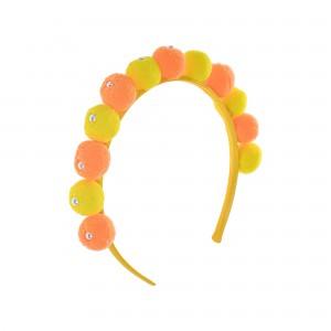 Jenny Orange and Yellow Pompom Hairband