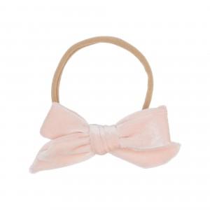Sidney Light Pink Velvet Bow Hairbands