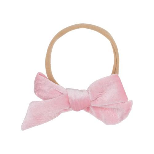 Sidney Pink Velvet Bow Hairbands